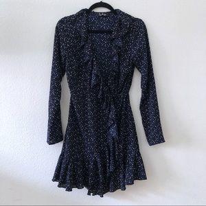 Lulu's polka dot ruffled wrap mini dress
